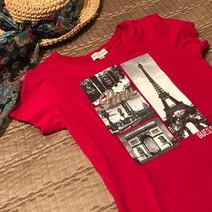 Guess top, deep red t-shirt, Paris themed, size SP